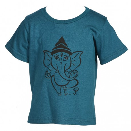 Tee-shirt enfant ethnique bleu pétrole