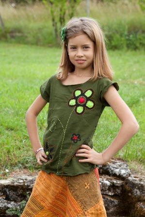 Flower tee shirt and patchwork skirt