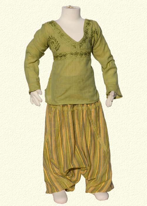 with stripe lemon green afghan trousers
