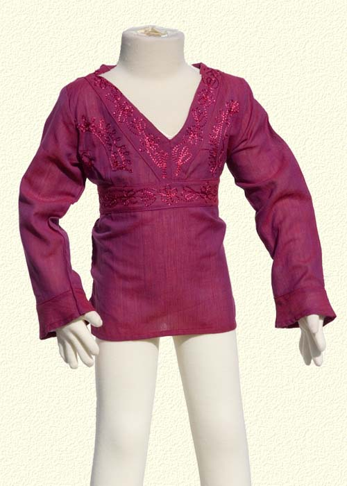 Embroidered tunic long sleeves violet