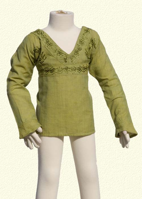 Embroidered tunic long sleeves lemon green