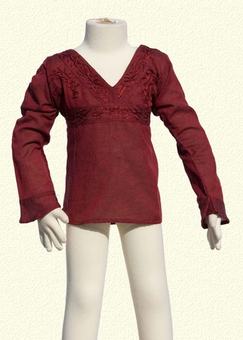 Embroidered tunic long sleeves dark red